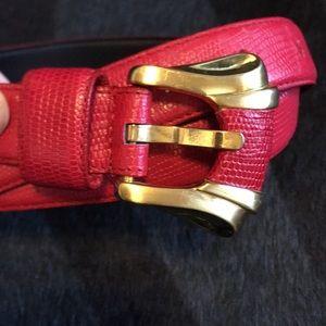 Vintage Liz Claiborne Red Snakeskin Belt